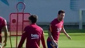 Messi volta a ser protagonista no treino do Barcelona